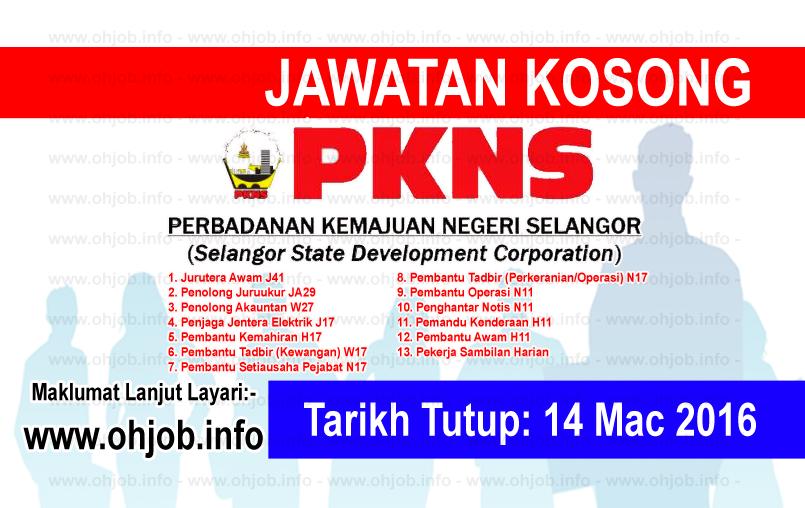 Jawatan Kerja Kosong Perbadanan Kemajuan Negeri Selangor (PKNS) logo www.ohjob.info mac 2016