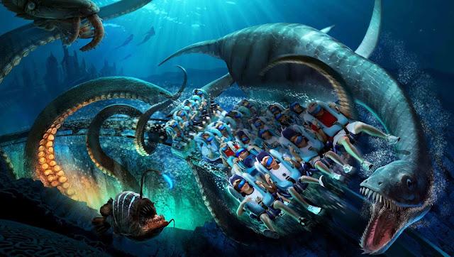 Simulador da montanha-russa Kraken no SeaWorld Orlando