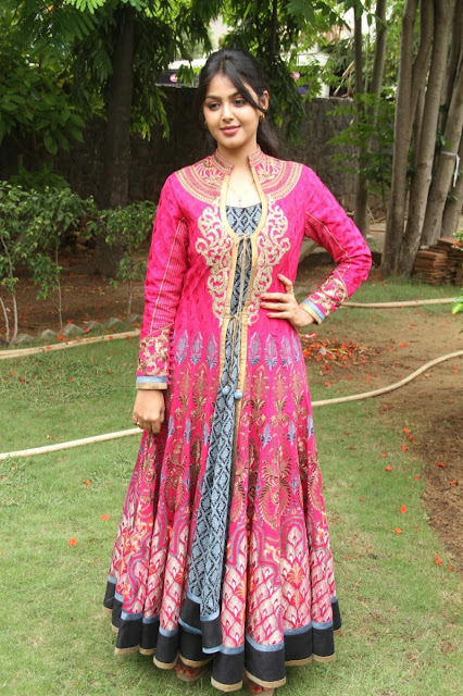 South Actress Monal Gajjar in Designer Pink Color Floor Length Anarkali Suit