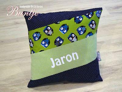 Geschenk Geburt Taufe Kindergarten Namenskissen Kissen Name Junge Jaron Eule grün blau dunkelblau