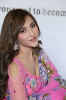 Actress Angela Krislinzki in Pink Saree Blouse Exclusive Pics March 2017 ~  001.JPG