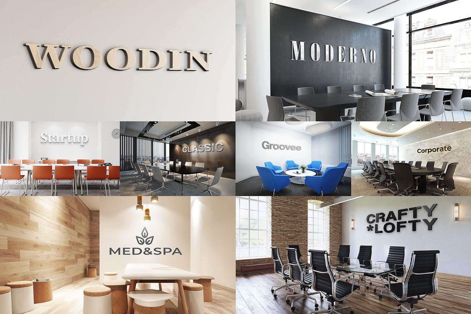 3D Logo Office Interior Mockup Bundle