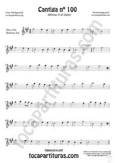 Alto Saxophone and Baritone Sax Sheet Music for Cantiga de Amigo Nº 100 de Alfonso X El Sabio Classical Music Scores