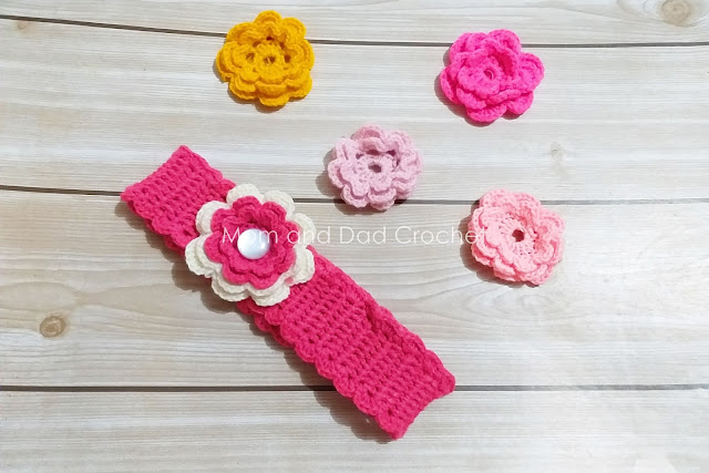 free crochet pattern, crochet headband, crochet flower, interchangeable crochet flowers, Mom & Dad Crochet,