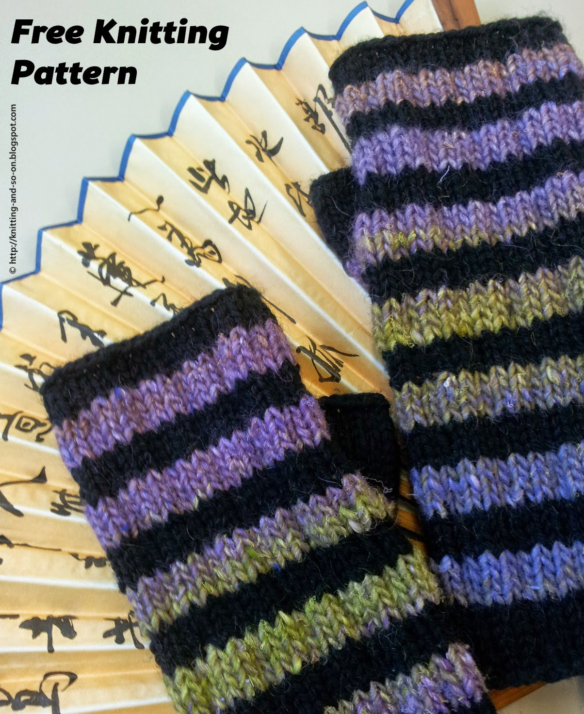 Free Knitting Pattern - Striped Fingerless Gloves