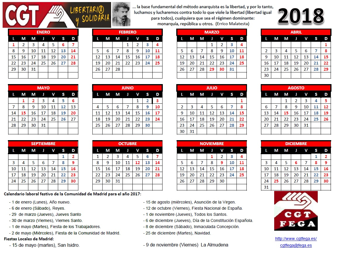Cgtfega calendario laboral de madrid 2018 for Calendario eventos madrid