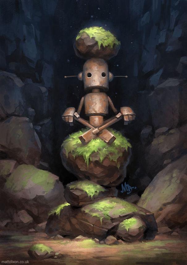 05-Matt-Dixon-Illustrations-of-Lonely-Robots-Experiencing-The-World-www-designstack-co
