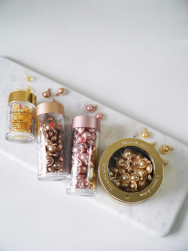 Elizabeth Arden Ceramide Capsules in different formulas: Vitamin C, Retinol, Advanced Daily Youth Restoring Serum, Advanced Daily Youth Restoring Eye Serum