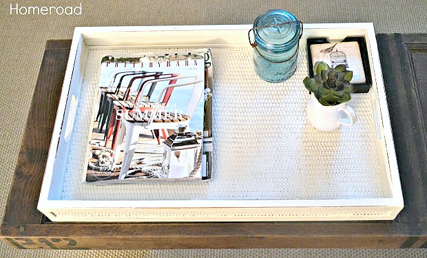 DIY woven tray upcycle from a thrift store find. Homeroad.net
