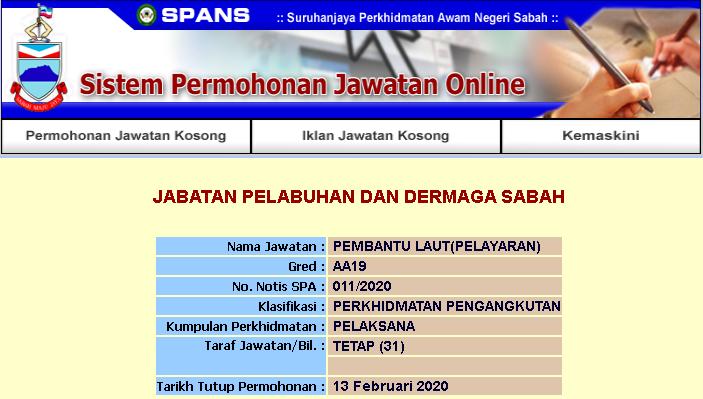 Kekosongan Jawatan Kerajaan Negeri Sabah 2020 Pembantu Laut Gred A19 Pelayaran Jawatan Kosong Terkini Negeri Sabah