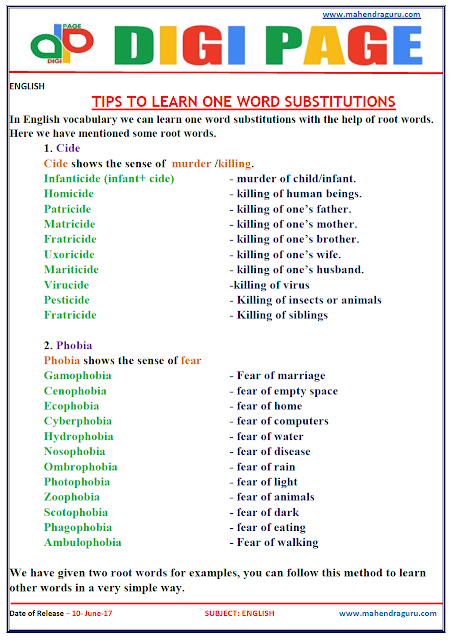 DP | TIPS TO LEARN ONE WORD SUBSTITUTIONS | 10 - JUNE - 17 |
