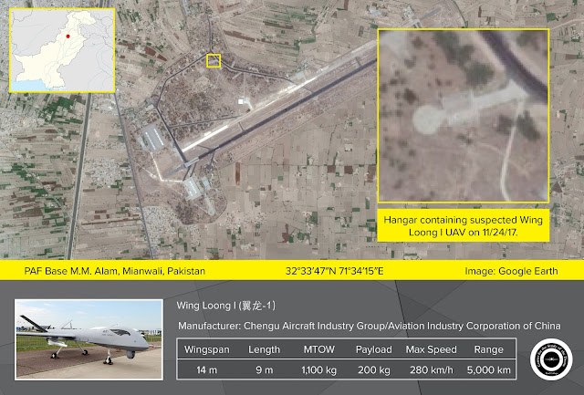 Image Attribute: A satellite image of Pakistan Air Force Base M.M. Alam in Mianwali (dated November 24, 2017), shows what appears to be a medium-altitude long-endurance drone, possibly a Chinese CAIG Wing Loong I. The aircraft is parked outside a hangar near the center of the base. / Source:  TerraServer