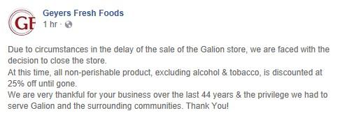 Galionite: Geyer's in Galion: Store Closure Announcement