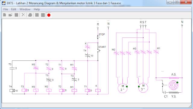 tampilan diagram kontrol dan daya sirkuit satu fasa 1 dan dua motor 3 fasa yang dirancang dengan EKTS