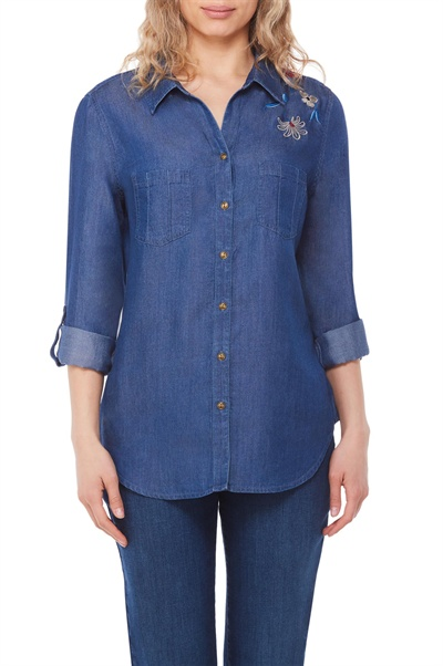 f2796b8aecf Nygard Fashions Embroidered Lyocell Denim Shirt