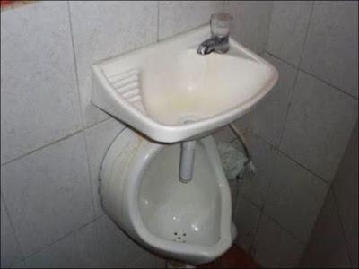Urinoir et lave main combiné, le top de l'hygiène !