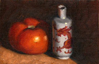 Oil painting of a red tomato next to a small white and red Chinese-style vase.