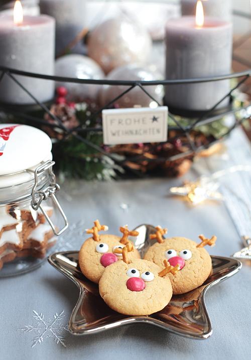 Rentier Kekse Weihnachten Erdnuss Erdnussplätzchen