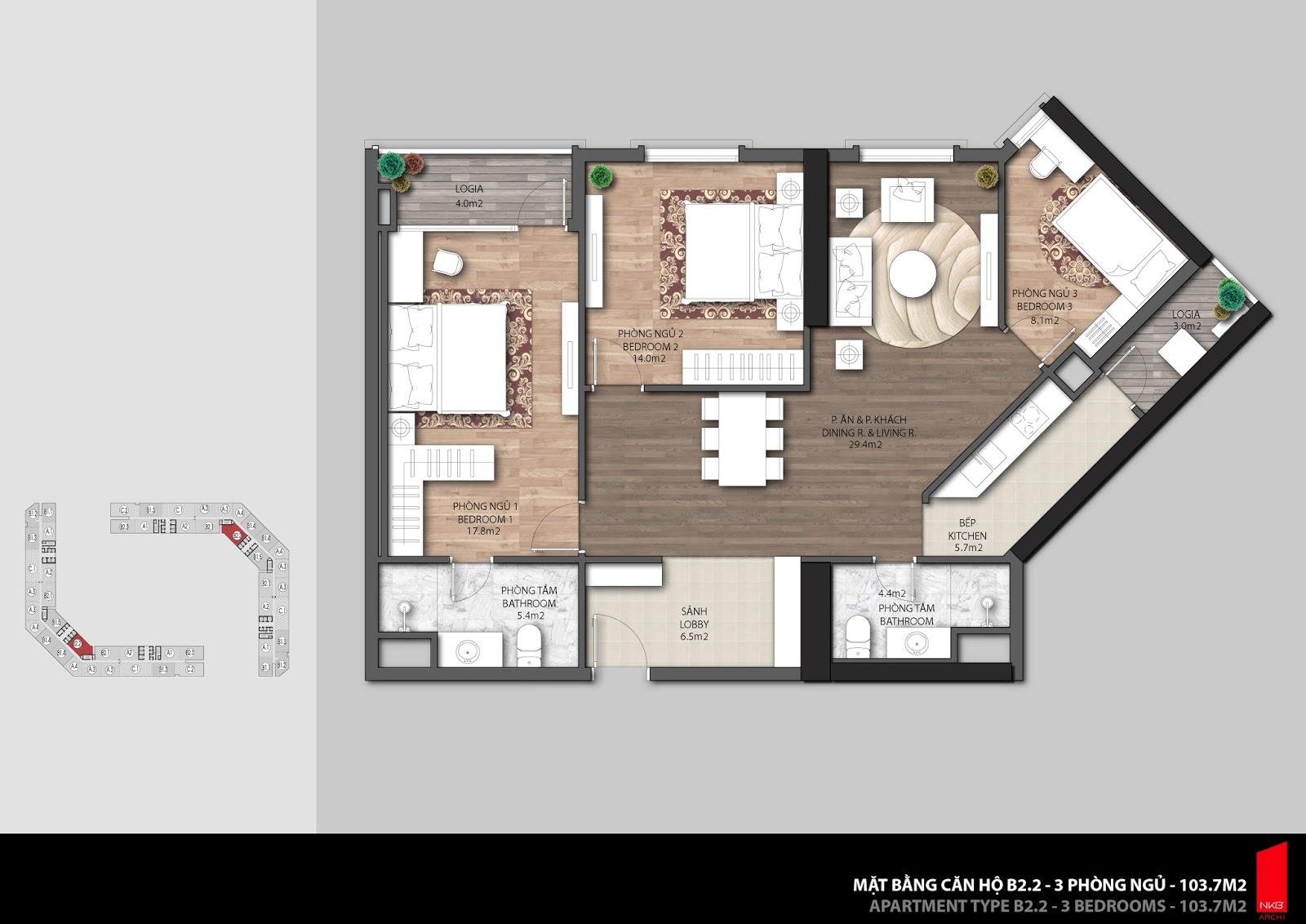 Mặt bằng căn hộ 103,7m2