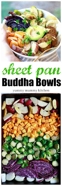 Delicious vegetarian or vegan Buddha bowls with a rainbow of healthy winter vegetables and a sweet tahini sauce.