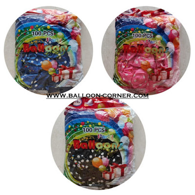 Balon Latex Metalik Polkadot 12 Inch Pack Isi 100 Pcs (GROSIR)