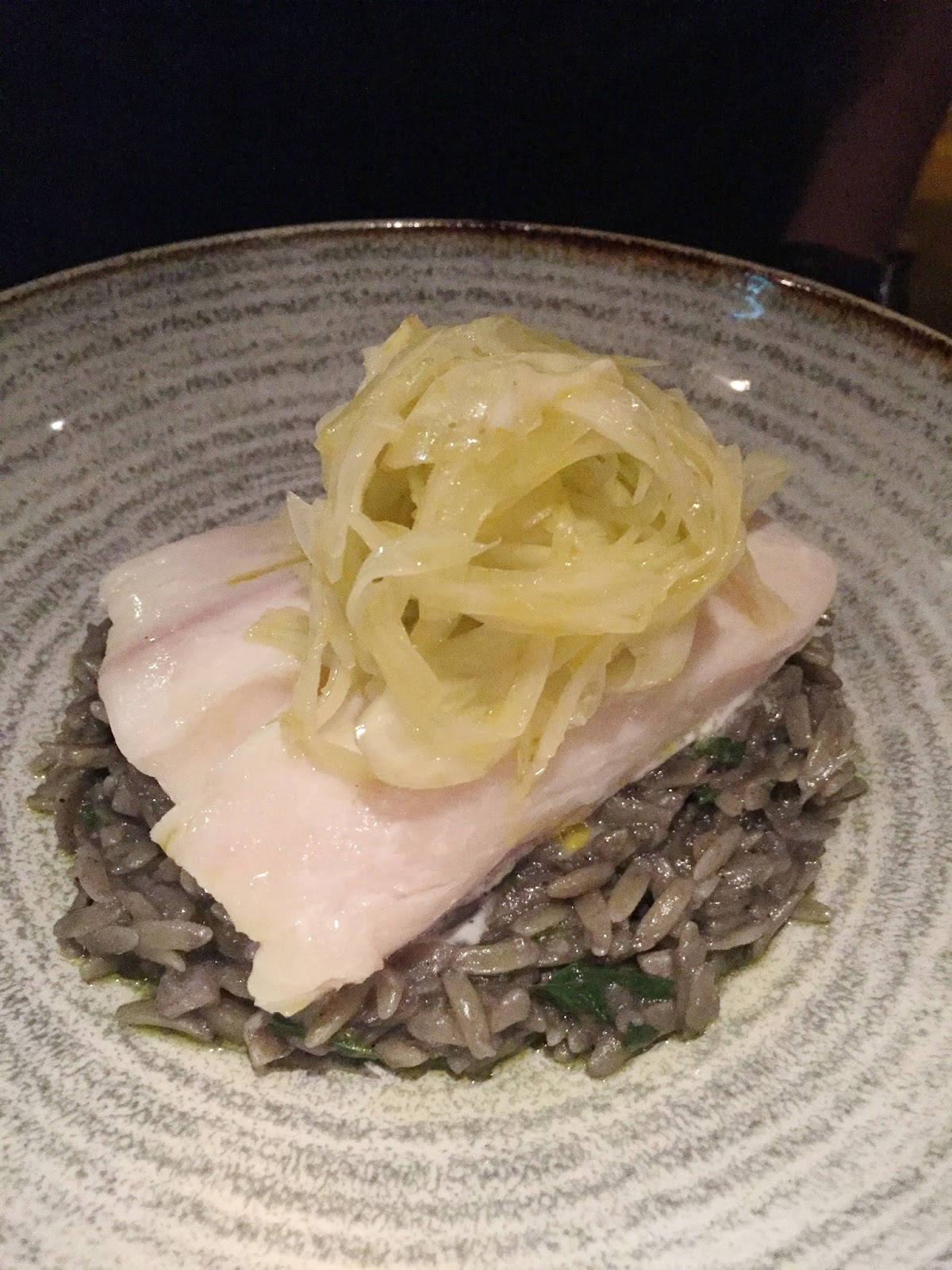 Stitch & Bear - Charlotte Quay - Confit halibut with orzo nero