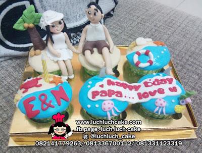Cupcake Tema Pantai Romantis