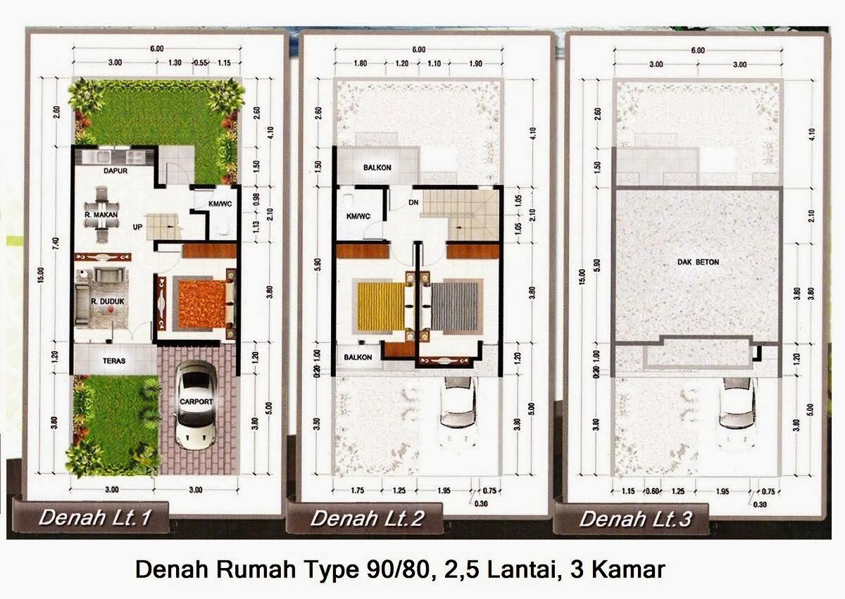 gambar denah rumah minimalis type 90 4