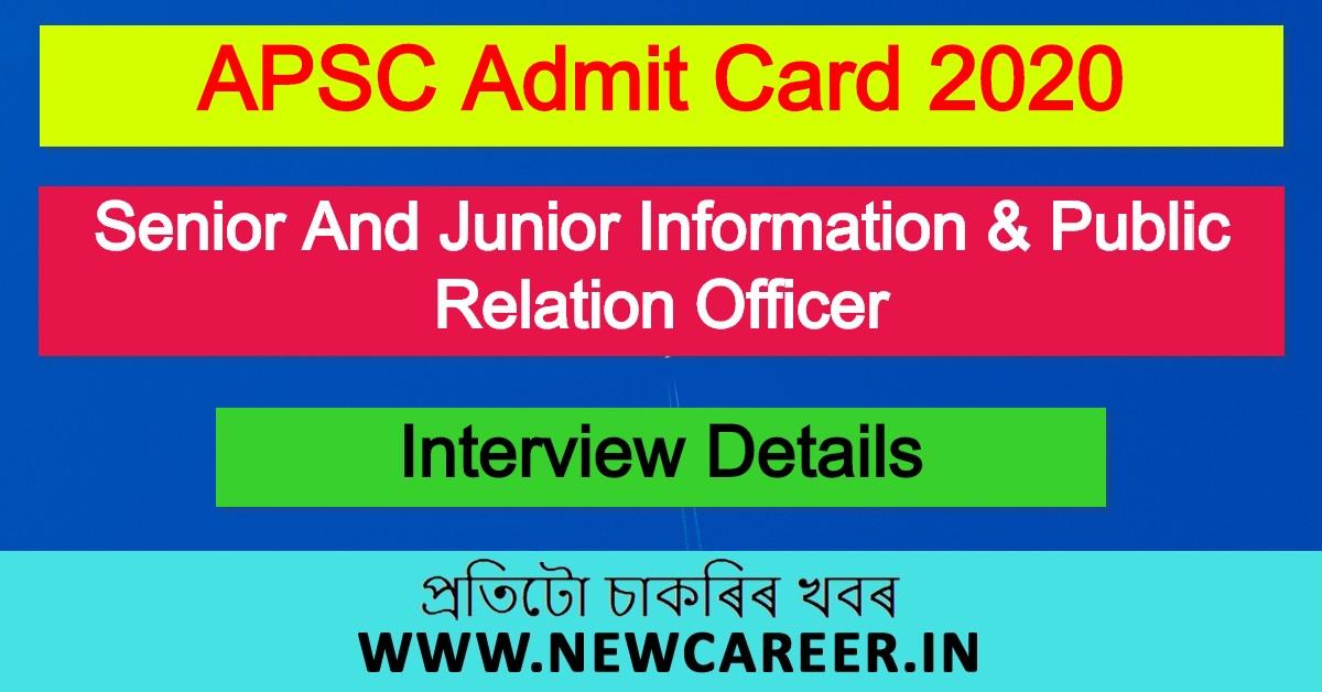 APSC Admit Card 2020