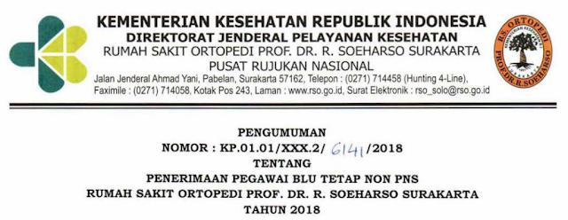 Penerimaan Pegawai BLU Tetap Non PNS RS Ortopedi Prof.Dr.R.Soeharso Surakarta Tahun 2018