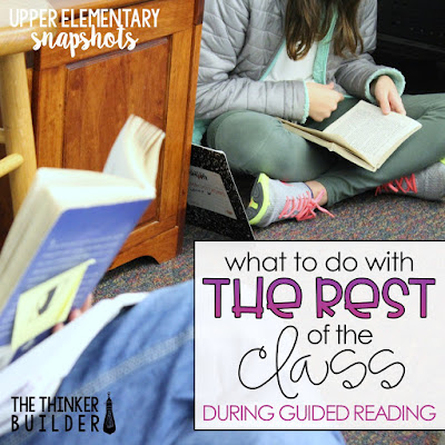 """What to Do with the Rest of the Class during Guided Reading"" Blog post from with detailed ways to structure your time so while you meet with small groups, the rest of the class is engaged in meaningful tasks."