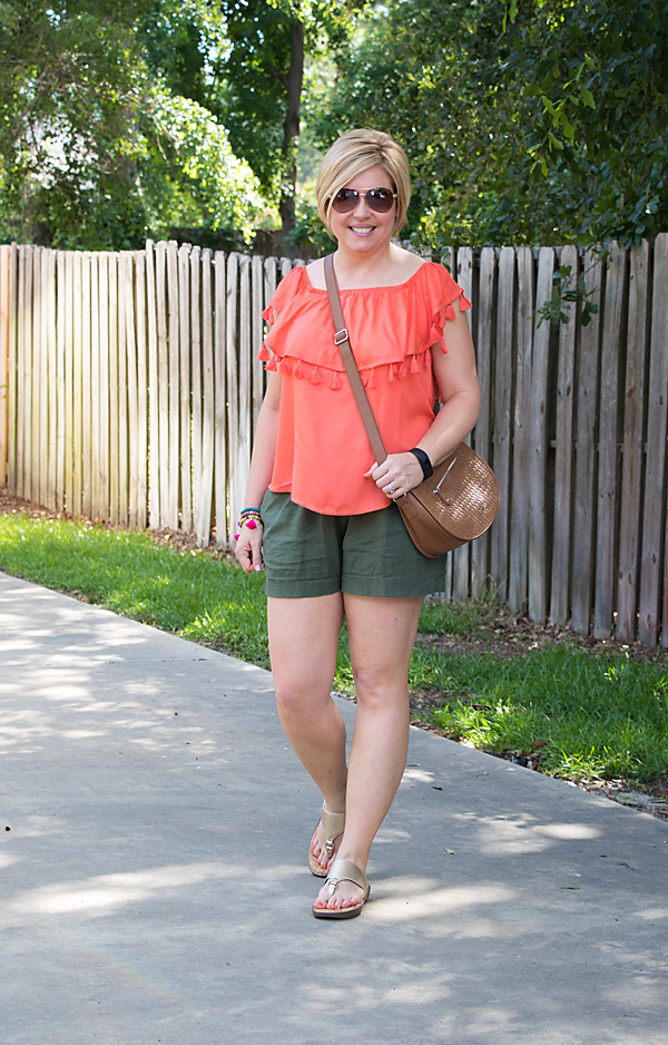 olive shorts with bright top