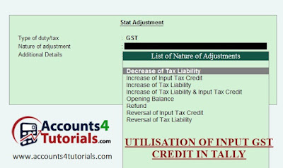 gst input tax credit adjustment entry in tally