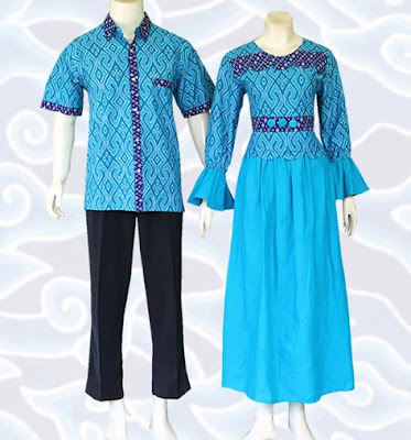 Model Gamis Batik Sarimbit simpel