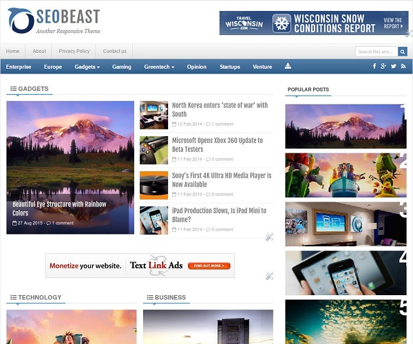 SeoBeast is a magazine style template having 38+ post articles on homepage to attract visitors.