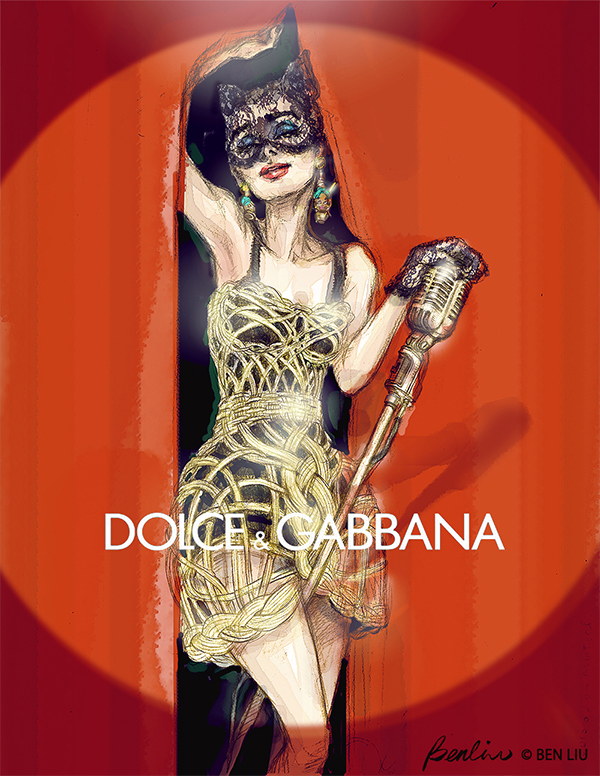 Audrey Hepburn as Catwoman in Dolce & Gabbana Fashion illustration