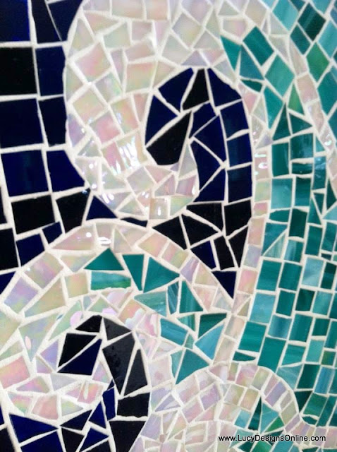 mosaic waves surfboard art beach house, coastal art