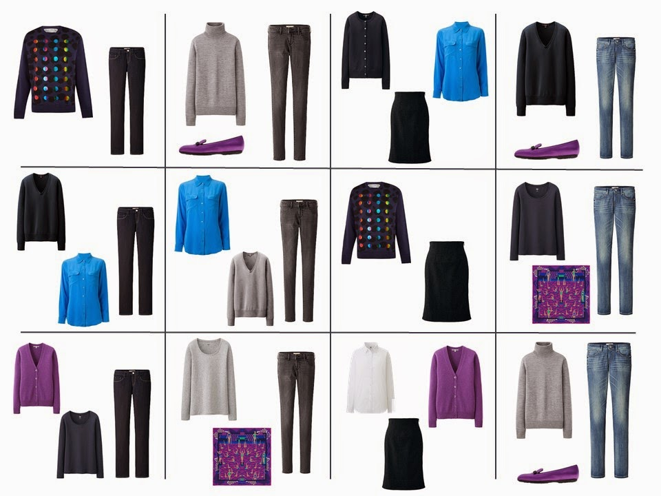 12 outfits from the bright turquoise and bright purple 5-Piece French Wardrobe with the navy and grey Common Wardrobe