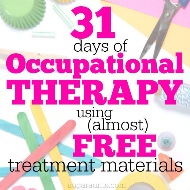 Occupational Therapy Ideas using Free or Cheap Items