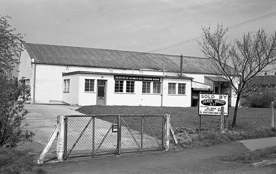 Photograph of Meadow Works, Bulls Lane 1967. Factory used by Addo and Polycell. Site sold for housing Meadow Close.
