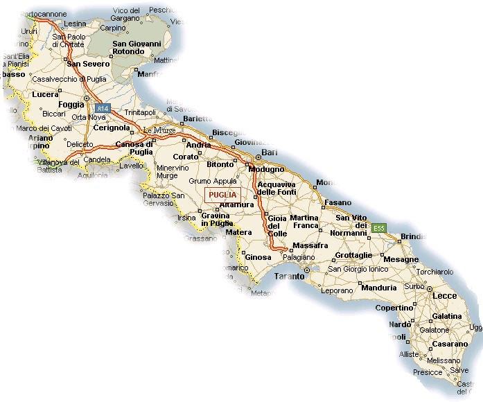 La Puglia Cartina Fisica.Geografia Della Puglia