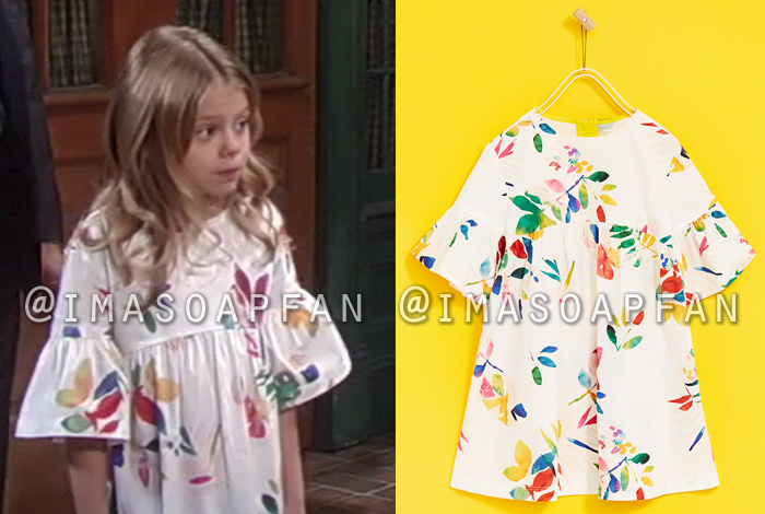 Charlotte Cassadine, Scarlett Fernandez, Multicolored Leaf Print Dress, Zara, General Hospital, GH