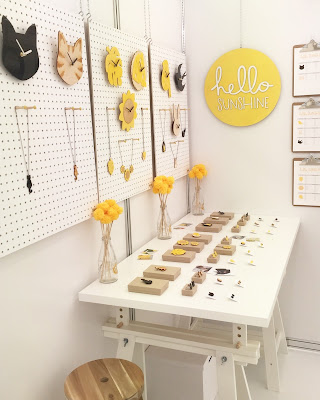Display of Hello Sunshine acrylic laser cut jewellery