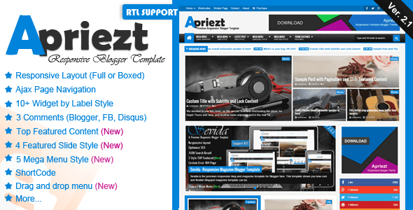 Download Apriezt v2.1 – Responsive Magazine News Blogger Template