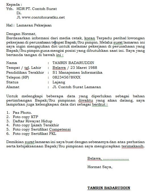 Download Contoh Surat Lamaran Kerja Resmi, Baik dan Terbaru MS Word
