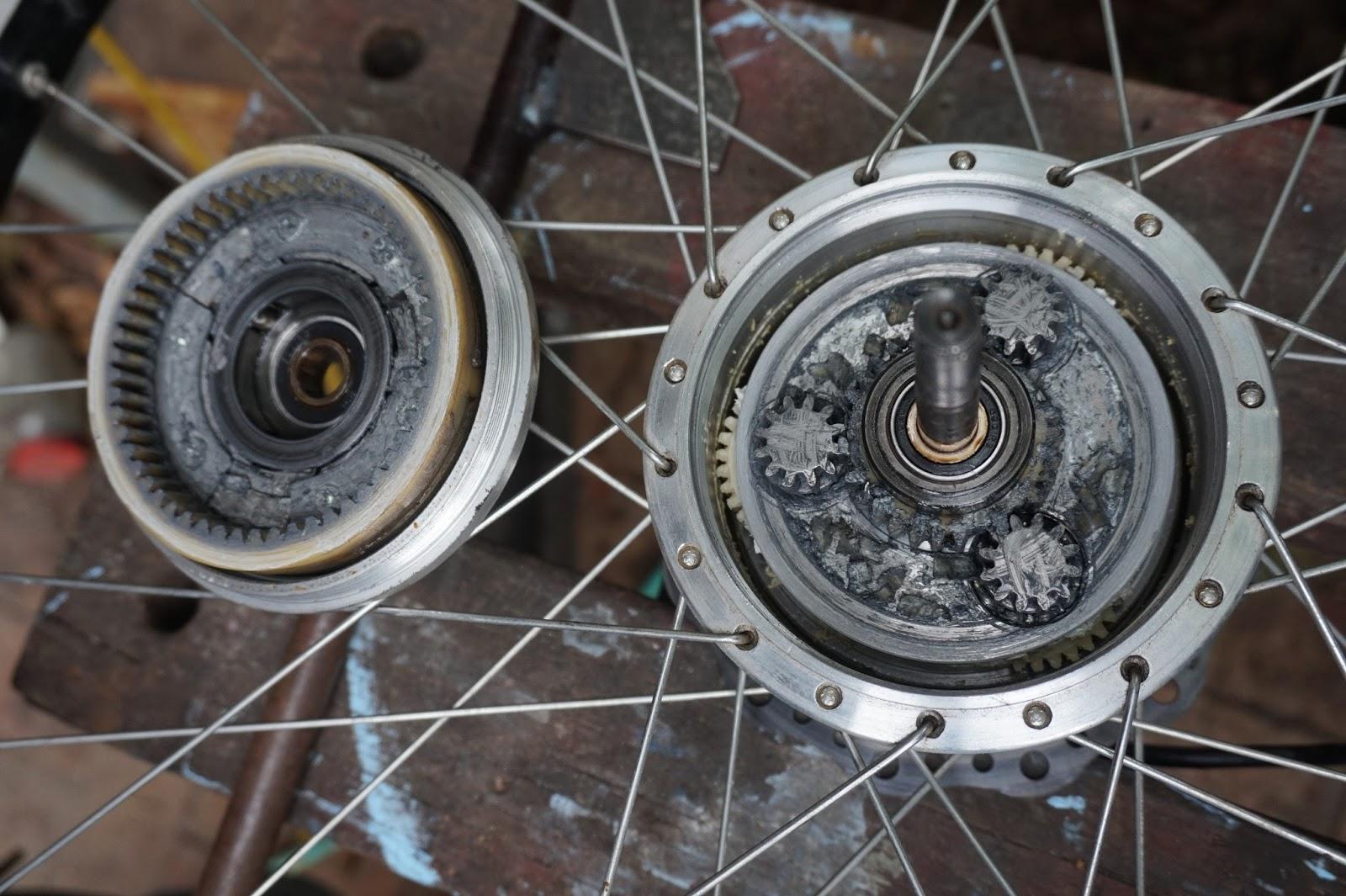 Bruce teakle 39 s pages xiongda 2 speed motor repair nylon for Electric bike hub motor planetary gear