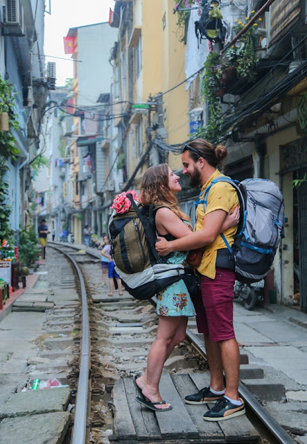 Foreign tourist come to the Train Street in Hanoi to take pictures honeymoon 2