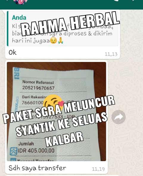 Bukti Konfirmasi Transfer Order dari pelanggan Rahma Herbal