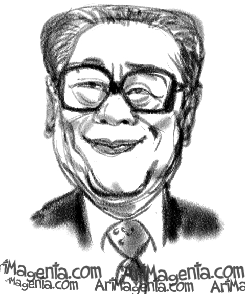 Jiang Zemin  caricature cartoon. Portrait drawing by caricaturist Artmagenta.