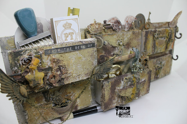 Mixed media faux vintage drawer by Phoebe Tonosaki